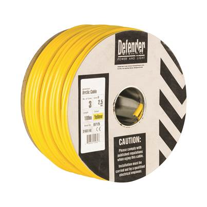Defender 2.5mm 100M 3 Core Cable Drum 110V