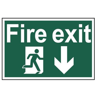 Scan Fire Exit Running Man Arrow Down - PVC 300 x 200mm