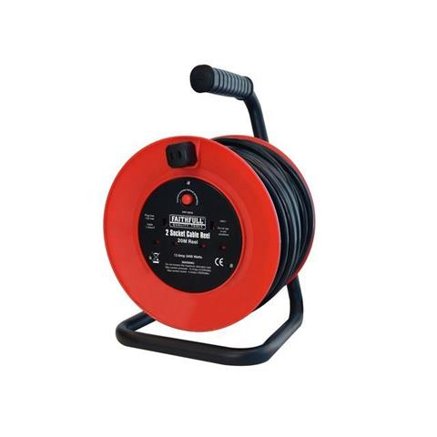 XMS Faithfull Open Frame Cable Reel with Thermal Protection 20m 240 Volt