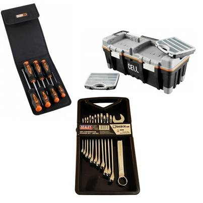 UKTB DIY Kit - 26 inch Toolbox 12pc Spanner Set & Screwdriver Set
