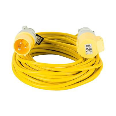 Defender 14M Extension Lead - 16A 2.5mm Cable - Yellow 110V