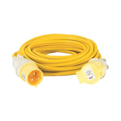 Defender 14M Extension Lead - 32A 4mm Cable - Yellow 110V