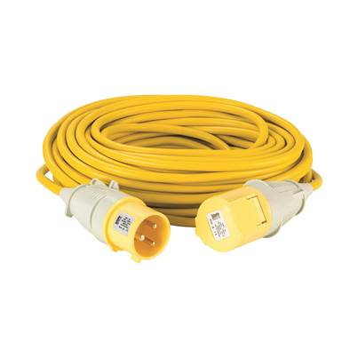 Defender 25M Extension Lead - 32A 4mm Cable - Yellow 110V