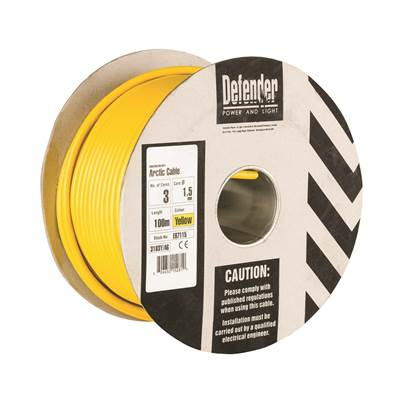 Defender 1.5mm 100M 3 Core Cable Drum - 110V