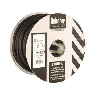 Defender 2.5mm 50M HO7 RN-F 2 Core Cable Drum 110V/240V