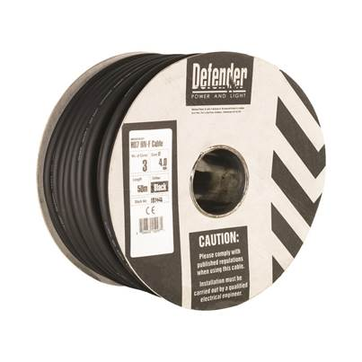 Defender 50M Drum - 4.0mm 3 Core Black Rubber HO7 RN-F Cable
