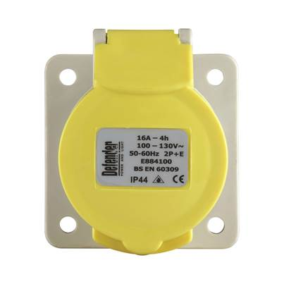 Defender 16A Panel Socket - Yellow 110V