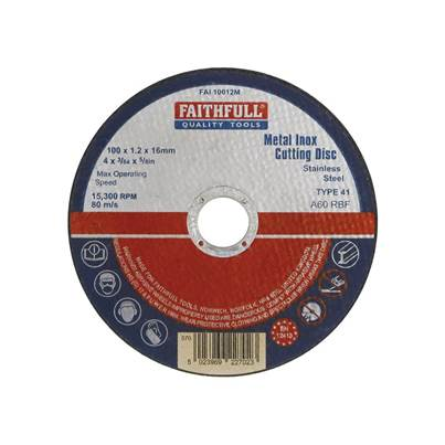 Faithfull Metal Cut Off Disc 100 x 1.2 x 16mm