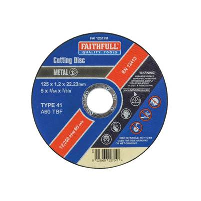 Faithfull Metal Cut Off Disc 125 x 1.2 x 22mm