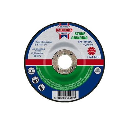 Faithfull Depressed Centre Stone Grinding Disc 125 x 6 x 22mm