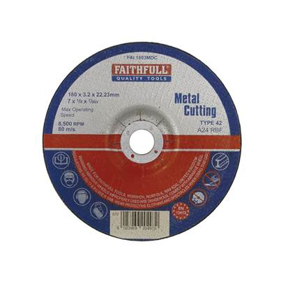 Faithfull Depressed Centre Metal Cut Off Disc 180 x 3.2 x 22mm