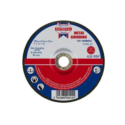 Faithfull Depressed Centre Metal Grinding Disc 180 x 6.5 x 22mm