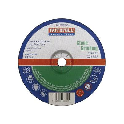 Faithfull Depressed Centre Stone Grinding Disc 230 x 6 x 22mm