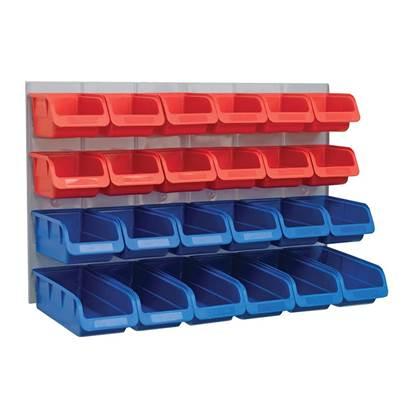 Faithfull 24 Plastic Storage Bins with Metal Wall Panel