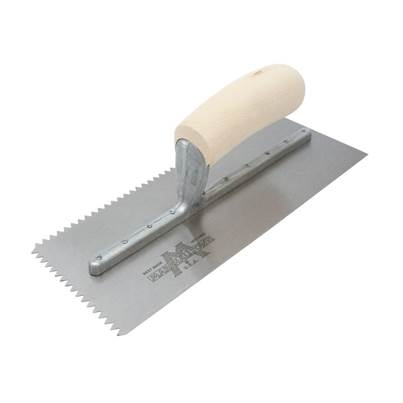 Marshalltown M701S Notched Trowel V 3/16in Wooden Handle 11 x 4.1/2in
