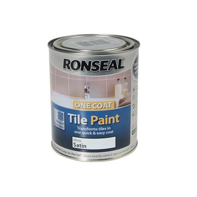 Ronseal One Coat Tile Paint White Satin 750ml