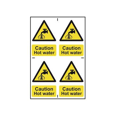 Scan Caution Hot Water - PVC 200 x 300mm