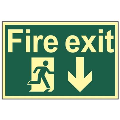 Scan Fire Exit Running Man Arrow Down - Photoluminescent 300 x 200mm