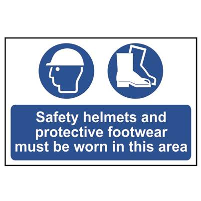 Scan Safety Helmets + Footwear To Be Worn PVC 600 x 400mm