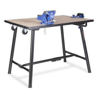 "Armorgard Tuffbench + Folding Workbench c/w Wheels, Handle 4"" Chain Vice and 6"" Engineers Vice"