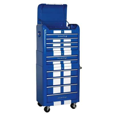 Sealey Tools Retro Style Combination Roll Cab 10 Drawer - Blue/White Stripes AP28COMBO2BWS