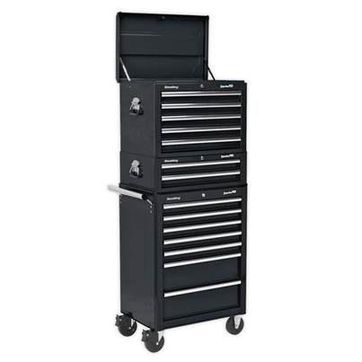 Sealey Tools Topchest, Mid-Box & Rollcab Combination 14 Drawer with Ball Bearing Runners - Black