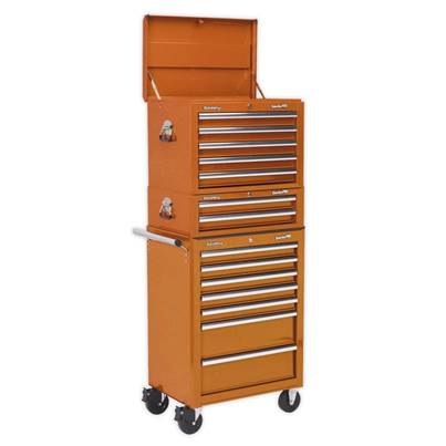 Sealey Tools Topchest, Mid-Box & Rollcab Combination 14 Drawer with Ball Bearing Runners - Orange