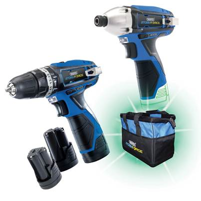 Draper Stormforce 10.8V Hammer Drill & Impact Driver Twin Pack + 3 Batteries 52046