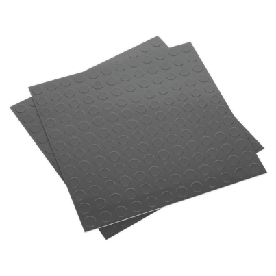 Sealey Tools Vinyl Floor Tile with Peel & Stick Backing - Silver Coin Pack of 16