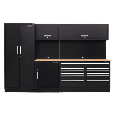 Sealey Tools Modular Storage System Combo - Oak Worktop (W x H x D) 3100mm x 2110mm x 640mm