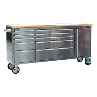 Sealey Tools Mobile Stainless Steel Tool Cabinet 10 Drawer & Cupboard
