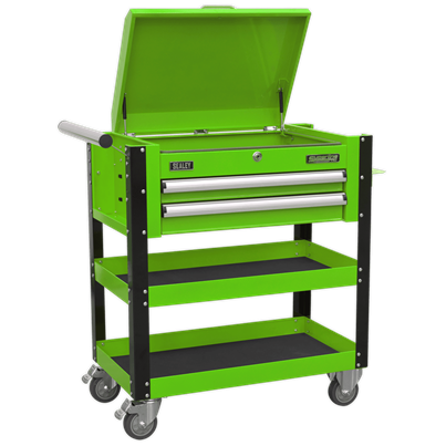 Sealey Tools Heavy-Duty Mobile Tool & Parts Trolley 2 Drawers & Lockable Top - Hi-Vis Green