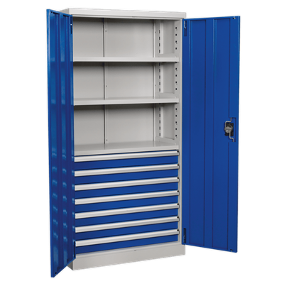 Sealey Tools Industrial Cabinet 7 Drawer 3 Shelf 1800mm