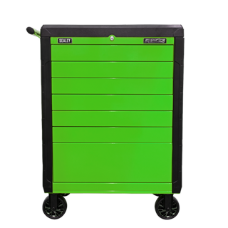 Sealey Tools APPD7G - Rollcab 7 Drawer Push-To-Open Hi-Vis Green