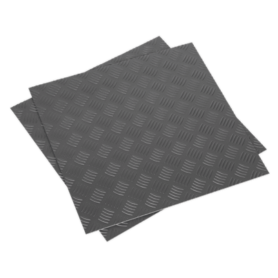 Sealey Tools Vinyl Floor Tile with Peel & Stick Backing - Silver Treadplate Pack of 16