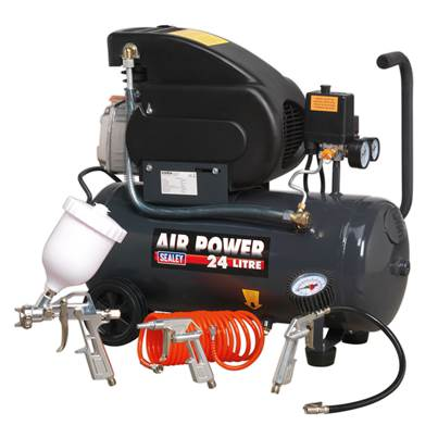 Sealey Tools SAC2420EPK Compressor 24ltr Direct Drive 2hp with 4pc Air Accessory Kit