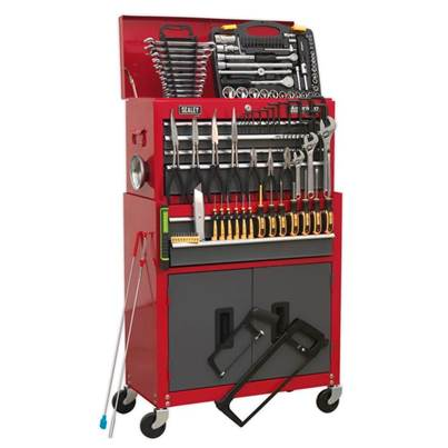 Sealey Tools Topchest & Rollcab Combination 6 Drawer with Ball Bearing Slides - Red/Grey & 128pc Tool Kit