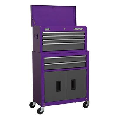 Sealey Tools Topchest & Rollcab Combination 6 Drawer with Ball Bearing Slides - Purple/Grey