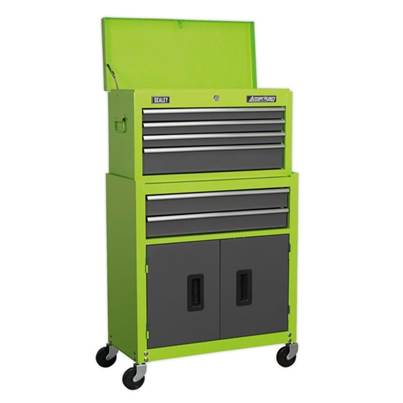 Sealey Tools Topchest & Rollcab Combination 6 Drawer with Ball Bearing Slides - Hi-Vis Green/Grey