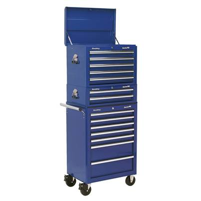 Sealey Tools Topchest, Mid-Box & Rollcab Combination 14 Drawer with Ball Bearing Runners - Blue
