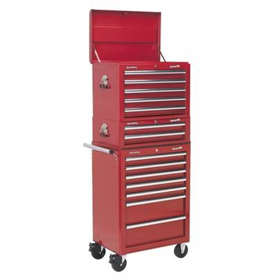 Sealey Tools Topchest, Mid-Box & Rollcab Combination 14 Drawer with Ball Bearing Runners - Red