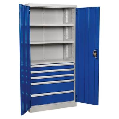 Sealey Tools Industrial Cabinet 5 Drawer 3 Shelf 1800mm