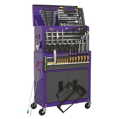 Sealey Tools Topchest & Rollcab Combination 6 Drawer with Ball Bearing Slides - Purple/Grey & 128pc Tool Kit