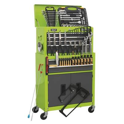 Sealey Tools Topchest & Rollcab Combination 6 Drawer Ball Bearing Slides - Hi-Vis Green/Grey & 128pc Tool Kit
