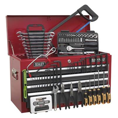 Sealey Tools Topchest 6 Drawer with Ball Bearing Slides - Red/Grey & 98pc Tool Kit