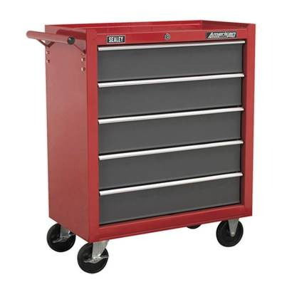 Sealey Tools Rollcab 5 Drawer with Ball Bearing Slides - Red/Grey