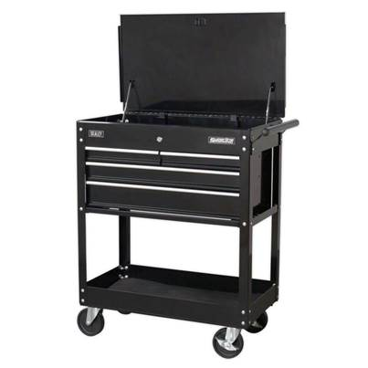 Sealey Tools Heavy-Duty Mobile Tool & Parts Trolley with 4 Drawers & Lockable Top - Black