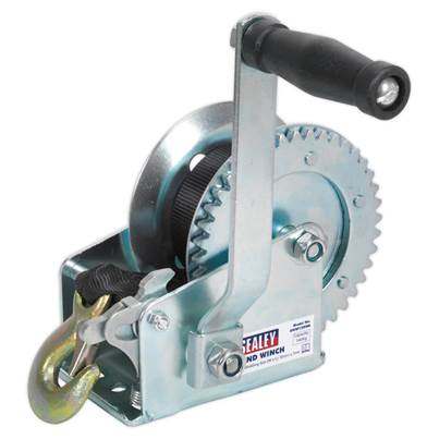Sealey Tools Geared Hand Winch 540kg Capacity with Webbing Strap