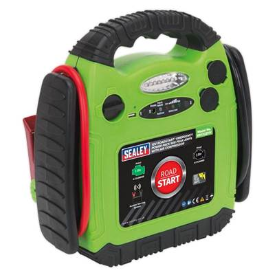 Sealey Tools RoadStart® Emergency Power Pack with Air Compressor 12V 900 Peak Amps
