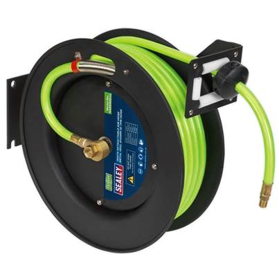 Sealey Tools Retractable Air Hose Metal Reel 15m Ø10mm ID High Visibility TPR Hose